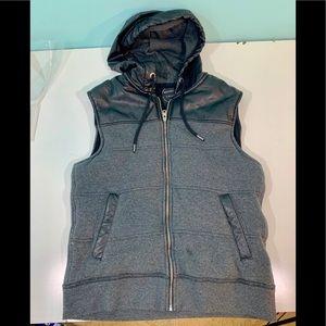 Brooklyn Calling Gray Black Hoodie Vest B1670
